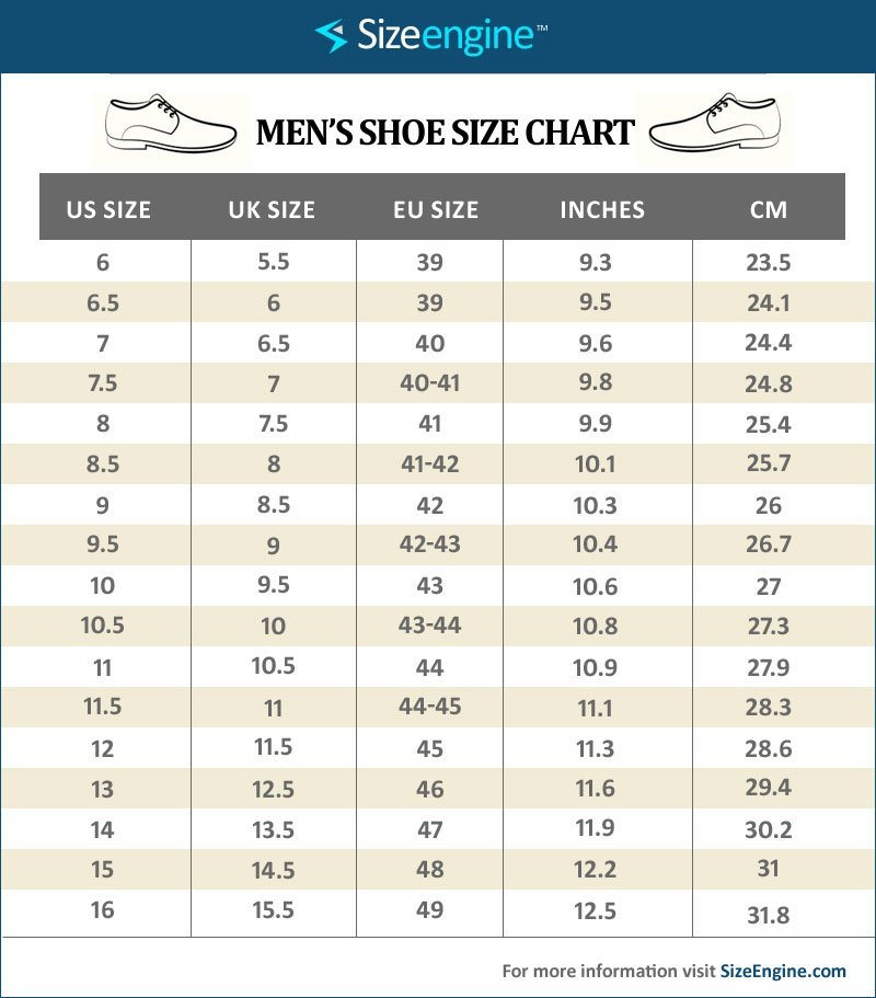 Mens Shoe Size Chart
