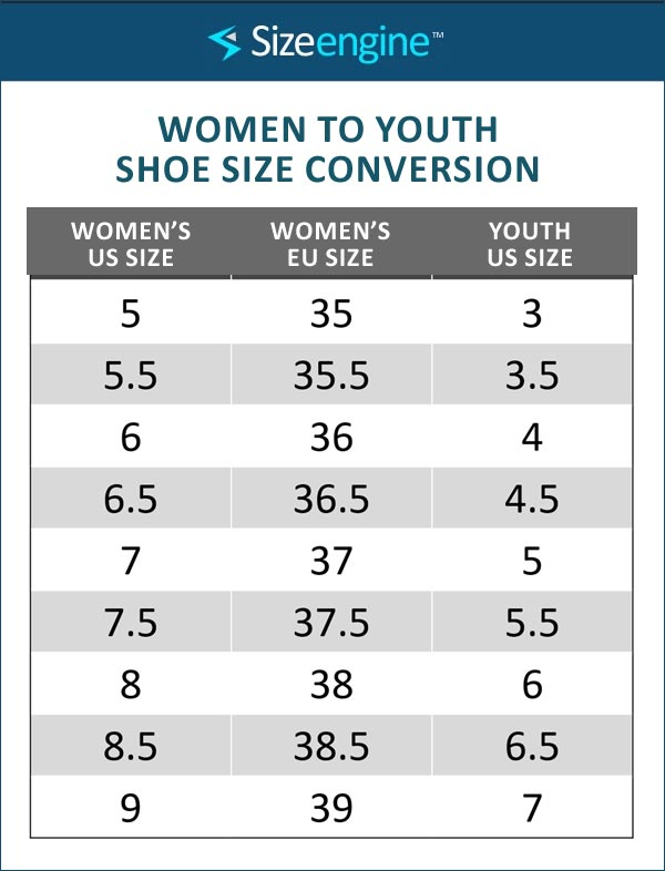 Women to Youth Shoe Size Conversion