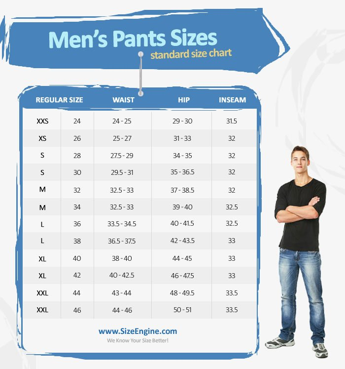 Men's Pant and Jeans Size Chart